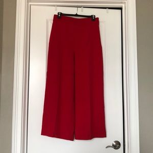 Zara High Waisted Cropped Wide Leg Red Trouser